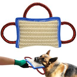 Wholesale play train - Jute Dog Bite Pillow Dogs Training Playing Toys Pet Chewing Teeth Cleaning Interactive For Police K9 Schutzhund With 2 Handles