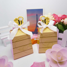 Wholesale Paper Bees - 500pcs Cute Yellow Honey Bee Candy Box wedding baby shower birthday baptism party candy gift favor box WA2345