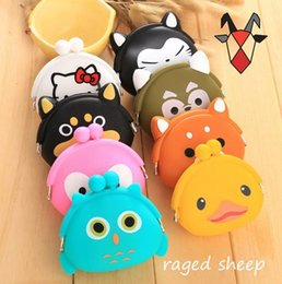 Wholesale Cute Owl Wallets - 50pcs Set Super Korean cute animal Mini silicone coin Purse Lovely children purse( including:cat,duck,bear,fox,frog,owl,pigFree Shipping