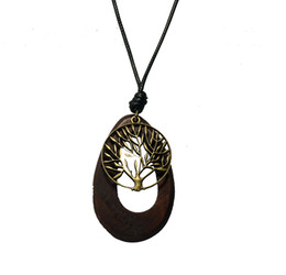 Wholesale Wooden Tree Necklace - retro wooden pendant necklace vintage bronze leaf leather cord sweater chain men women jewelry wishing tree