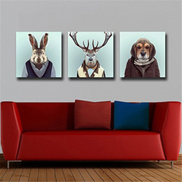 Wholesale Photo Prints Poster - 3 Panels Noframe Canvas Photo Prints Mr. Rabit Elk and Dog Animal Paintings Wall Decorations Artwork Giclee Paintings Home Decor