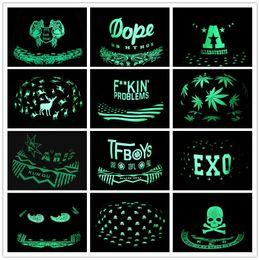 Wholesale Hip Hop Pops Wholesale - Men Women Baseball Cap Hip Hop Glow Eyes Graffiti Maple Leaf Fluorescent Hat Hip-Pop Cap Hat Snapback Luminous Black Ball Caps