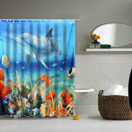 dolphin curtains Promo Codes - Wholesale- Hot Sale 180*180CM 3D Dolphin Sea Fish PEVA Waterproof Shower Curtain Bathroom Products Bath Curtain With Bath Mat Bathroom Set