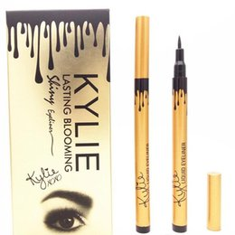 Wholesale Eyeliner Tubes - NEW makeup KYLIE gold tube liquid eyeliner pencil lasting blooming gold box Long-Lasting free shipping