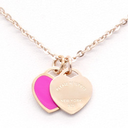 Wholesale Double Heart Gold Necklace - 3Colours Titanium Double Heart Pendant 316L stainless steel necklace Please return to New York 925 Letter Charms Wedding Jewelry for Women