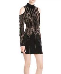 Wholesale Long Sleeve Sequin Dress Xs - fancy long sleeve women's one piece dress brand designer dress sexy runway dresses Sequins clubbing bandage dress off shoulder