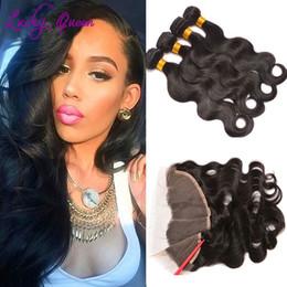 Wholesale West 12 Wholesale - Halo Lady Hair Bundles Brazilian Body Wave With Frontal Closure 13x4 Lace Frontal With Bundles West Kiss Human Hair