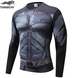Wholesale Batman Compression Shirt - Compression Shirt Batman VS Superman 3D Printed T-shirts Men Raglan Long Sleeve Cosplay Costume Fit Clothing Fitness Tops Male