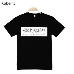 Wholesale Exo Shirts - Wholesale-New EXO T-Shirts Fashion Star The Same Paragraph Women Tops Casual Letter Printed T Shirt Summer Style All-Match Camisetas Mujer
