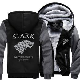 Wholesale House Hoodies - Wholesale- Dropshipping USA Game of Thrones House Stark of Winterfall Unisex Sweatshirt Zipper Fleece Winter Hoodies custom made jacket