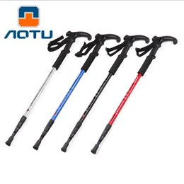 quality poles Promo Codes - 1pcs Walking stick Hiking Walking Trekking Trail Poles Ultralight Walking Protector 3-section Adjustable Canes Aluminum alloy High Quality