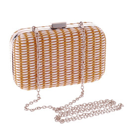 Wholesale Handmade Lady Bags - Handmade Straw Weave Handbags Women Day Clutch Hot Evening Bags Dress with Chains Tote Party Bag for Bride Brown A2210