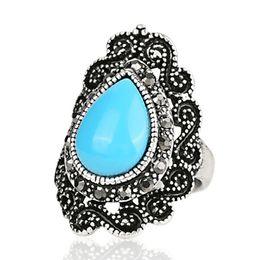 Wholesale Infinity Symbol Rings - Resin Imitation gem jade ruby agate Turquoise ring lacework lace edge Infinity symbol ring Tear Teardrop Pear Water droplets Drop rings j324