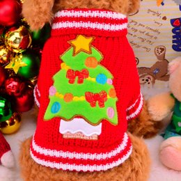 Wholesale Dog Tree - 1017009 Pet Dog Small dogTeddy Bichon frise Clothes Colorful Christmas tree Sweater Dress Winter Warm Clothes two Colors Dog-sweater-clothes