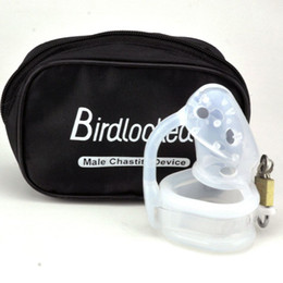 Wholesale Silicone Chastity Bird - Barbed Silicone Male Chastity Device Cock Cage Bird Lock Short Penis Sleeve Dick Cage Sex Toys For Men