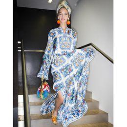 Wholesale Long Sleeve Holiday Dresses Women - 2016 Autumn Runway Designer Long Dress Women's Long Sleeve V-Neck Blue Porcelain Printed Beading Casual Slit Maxi Long Loose Holiday Dress