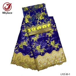 Wholesale Wholesale Net Fabrics For Women - Embroidery beautiful flowers hot sell bazin lace fabric with beads 5 yards nigerian style mesh net lace fabric for women dress LYZ-30
