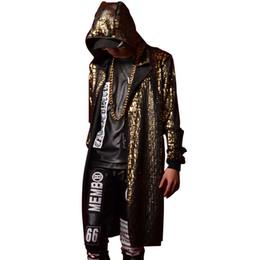 Wholesale Trench Coats Male Long Black - Wholesale- Golden Blue Black Men Women Stage Clothes Hooded Cloak Trench Coat Nightclub Singer Dancer DJ Costumes Male Long Cardigan Jacket