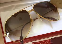gafas de sol Pilot vintage chapado en oro Tanque para hombre Diseñador Gafas de sol Gafas de sol clásicas Sombras Nuevo en caja desde fabricantes
