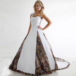 Wholesale Camouflage Dresses Plus Size - 2018 Newest Camo Wedding Dresses Sweetheart Criss Cross Back Corset Ball Gown Wedding Dresses Country Camouflage Cowgirls Bridal Dresses