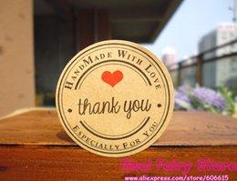 Süßigkeiten-etiketten online-1200 stücke Danke rotes herz hand gemacht mit liebe Kraft Dichtung Aufkleber Geschenk Label Aufkleber Für Favor Geschenkbeutel Pralinenschachtel Decor