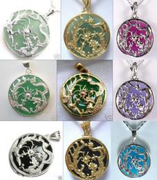 Wholesale jade pendant purple - Wholesale cheap 9 color! green purple blue jade -black agate Dragon Phoenix bless 18KGP pendant