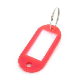 Wholesale Key Id Labels Tags - 50  Pcs Mix Color Plastic Keychain Key Tags Id Label Name Tags With Split Ring For Baggage Key Chains Key Rings 50*22MM 77