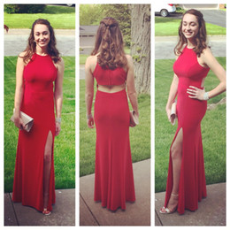Wholesale Elegant Dressess - Elegant 2017 Red Fomral Evening Gowns Sexy Side Split Cut Out Back Long Party Dressess Custom Made China EN9052