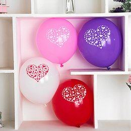 Wholesale Heart Print Balloons - Factory direct sales wedding dress wedding room layout decoration thickened 12 inch 2.5 grams printed heart balloon