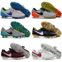 Wholesale Cheap Indoor Soccer Cleats - 2017 New Soccer Shoes Tiempo Legend VI FG Cheap Sale Football Boots Soccer Cleats Botas De Futbol Chuteira Futebol White Orange Red Black