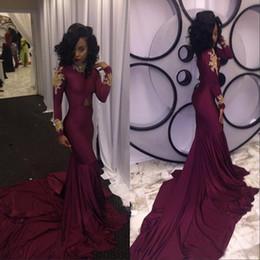 Wholesale Spandex Kaftan - Dubai Kaftan Saudi Arabia Mermaid Burgundy High Neck Evening Dresses 2017 Long Sleeve Beaded Applique Prom Dresses Robe de soiree