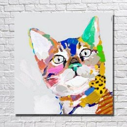 Wholesale Canvas Wall Art Ny - Framed Cat Portrait Animal,genuine Hand Painted Wall Decor Animal Art Oil Painting On Thick Canvas Multi sizes,ny