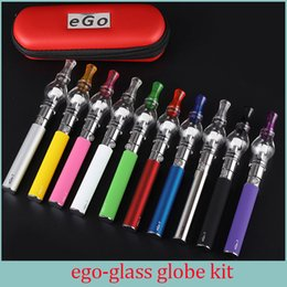 Wholesale Ego T Starter Kit Zipper - Glass Globe Atomizer EGo T Electronic Cigarette Starter Kit M6 Wax Vaporizer 600 900 1100 mah Ego T Cigarette Single Zipper kit