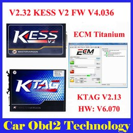 Wholesale Mazda Ecu Programmer - Newest V2.32 KESS V2 FW V4.036 OBD2 Manager Tuning Kit + V2.13 K-tag Ktag FW V6.070 ECU Programming No Token Limitation by DHL EMS Shipping