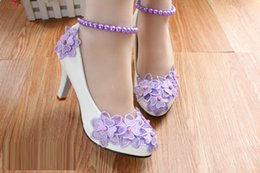 Wholesale Shoe Anklets - New white high heel wedding shoes Purple flower bud silk pearl anklets bridesmaid shoes
