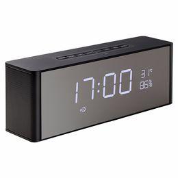 Wholesale Flooring Display Stands - Mini Bluetooth Speaker Wireless Portable Subwoofers with Desktop Alarm Clock Time Display Stereo Dual Speaker Handsfree Soundbar