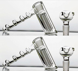 Wholesale Hookah Pipes Cheap - Cheap Mini 14cm Bongs Water Pipes 18.8mm Joint Glass Hammer 6 Arm Per Glass Percolator Bubbler Smoking Pipes Glass Gongs Recycler Hookahs