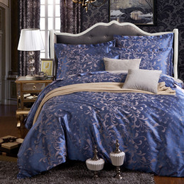 Wholesale Duvet Covers - Wholesale-2016 jacquard lake blue satin 4pcs bedding sets including duvet cover bed sheet pillowcases set twin king queen full size.