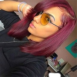 Wholesale Malaysian Full Lace Wigs Red - 99j Burgundy Human Hair Wig Front Lace Wigs 99J Wine Red Human Hair Full Lace Wig 99j Colored Silk Straight Bob Wigs