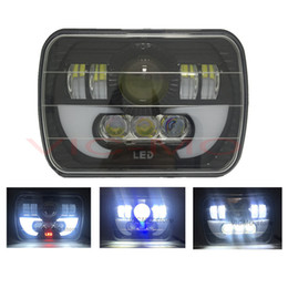 Wholesale Led Headlights For Trucks - 7x5 6x7 inch 90W Projector LED Sealed Beam Headlight Assembly With Angel Eyes DRL For Jeep Wrangler YJ Cherokee XJ Trucks