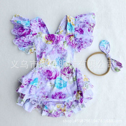 Wholesale Cute Jumpsuits - 2017 Ins Baby Girl Print Flower Rompers Cute Floral Lace Jumpsuits Hollow back + Headband Two Piece Set Infant Toddler Soft Cotton Bodysuits