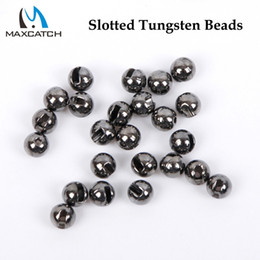 Wholesale Wholesale Fly Tying Materials - Wholesale- Maxcatch 25Pcs lot Nice-Designed Slotted Tungsten Beads Fly Tying Beads Tungsten 2.4mm 2.8mm 3.3mm 4.0mm Fly Tying Material