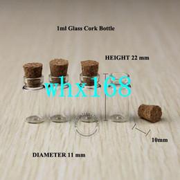 50 x alta calidad 1 ml mini frascos de vidrio frascos pequeños botellas con tapones de corcho Botella de vidrio diminuta para colgantes que deseen botella desde fabricantes