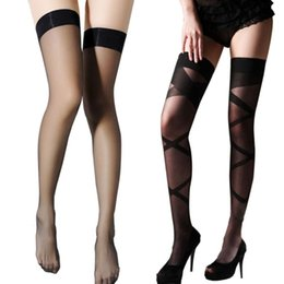 Wholesale Hot Garter Belt Sexy - Wholesale- Sexy Fashion Garter Belt Stocking Set Women Hot Sheer Net Lace Top Highs Charming Lace Top Over Tigh Knee Lingerie Pantyhose