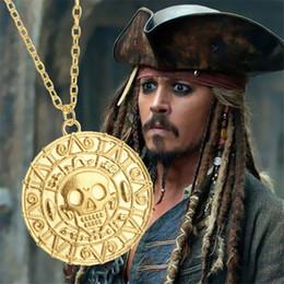 Wholesale Wholesale Pirate Caribbean Party - Pirates Of The Caribbean Skull Necklace Jack Sparrow Aztec Coin Medallion Vintage Gold Bronze Silver Pendant Wholesale