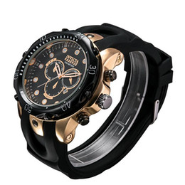 Wholesale gold chronograph new - New INVICTA 2017 sales rose gold Men's Pro Diver SS Speedway Chronograph rubber Steel Watch 3644 164