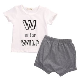 Wholesale Shorts For Toddler Boys - Summer Toddler Infant Baby Boy Outfits Clothes W is for Wild Short Sleeve T-shirt +Striped Pants Shorts 2pcs Baby Clothing Set