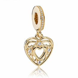 Wholesale Gold Music Pendants - Authentic 925 Sterling Silver Bead Charm Gold Romantic Love Heart With Crystal Pendant Beads Fit Women Pandora Bracelet Diy Jewelry HK3732