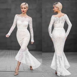 Wholesale Wholesale Mermaid Evening Dresses - Fashion European Long Sleeve Lace Dresses For Women Ladies Female Elegant Tail Evening Party Dress White Colors