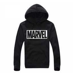 Wholesale Male Tracksuits - Wholesale- 2017 New Marvel Letter Print Black Sweatshirt Men Hoodies Fashion Solid Hoody Men Suit Pullover Men's Tracksuits male coats